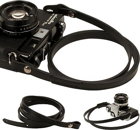 Todo Negro Piel cámara Cuello Correa para película réflex DSLR RF ...