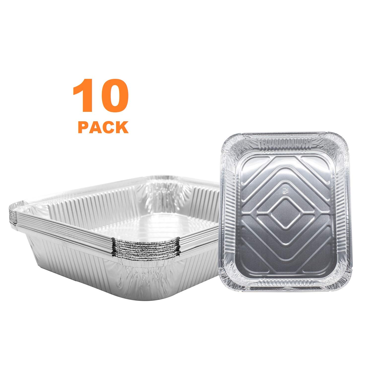 (10 Pack) 9 x 13 Aluminum Foil Pans - Disposable Steam Table Grill Drip Deep Trays, Meal Cooking, Baking, Roasting, Broiling, Heating Buffet Trays Tin Pans. Half Size- 12 1/2'' x 10 1/4'' x 2 1/2'' inch