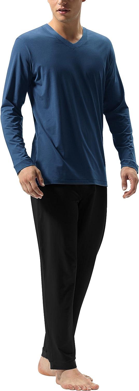 DAVID ARCHY Men's Cotton Sleepwear Tall PJs V-Neck Lounge Wear Top and Bottom Long Pajamas Set: Clothing