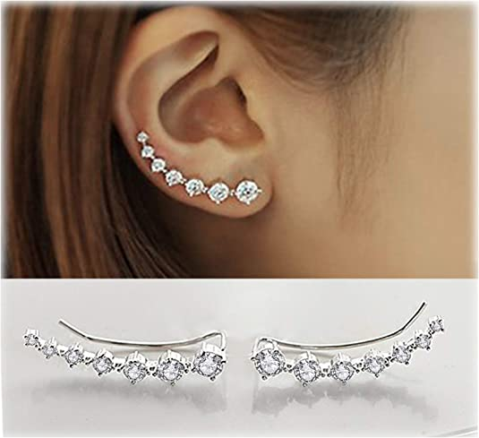 Crystals Ear Cuffs Hoop Climber Hypoallergenic Earring