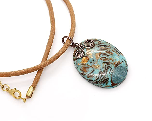 Wire Wrapped Copper Bornite Pendant On Chunky Real Leather Thong ...
