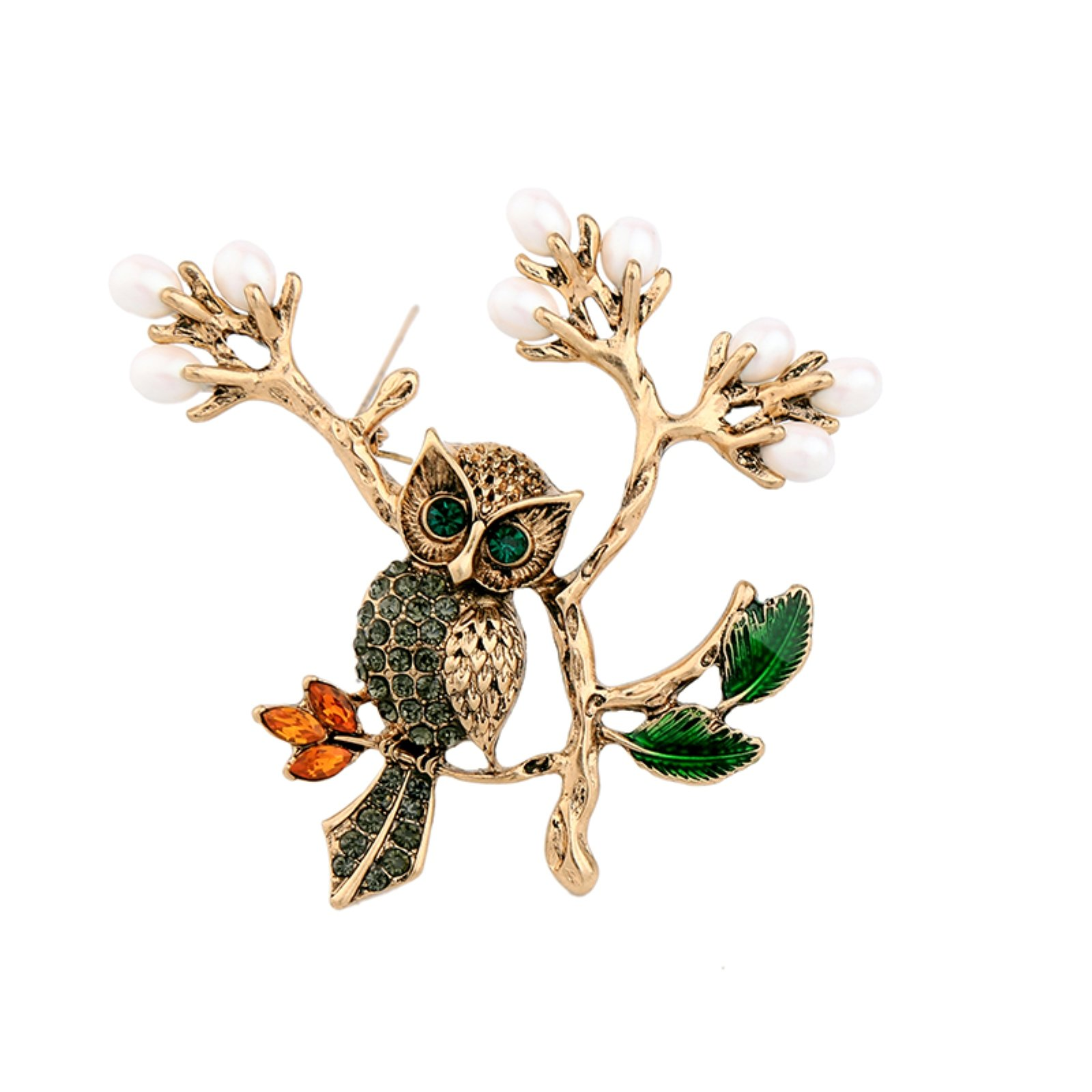 ptk12 Animal Design Alloy Branch Green Crystal Owl Brooches for Women Vintage Big Brooch Pins