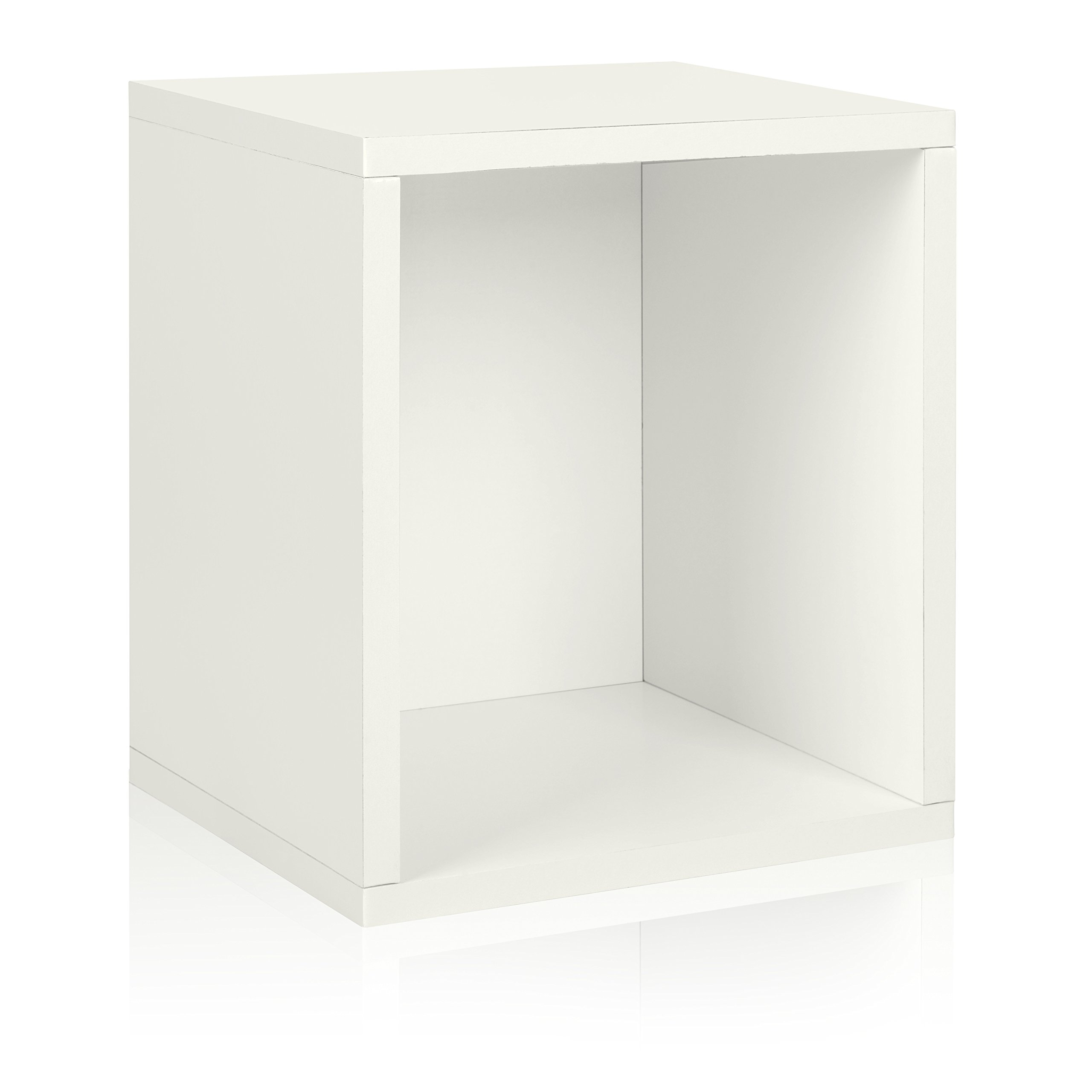 Way Basics Eco Stackable Storage Cube Plus and Cubby Organizer, White (made from sustainable non-toxic zBoard paperboard)