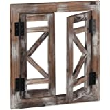J JACKCUBE DEISGN Rustic Wood Window Frame with Opening-doors, Wall Art Decor Hanging Window Panes, Farmhouse Wall Décor…