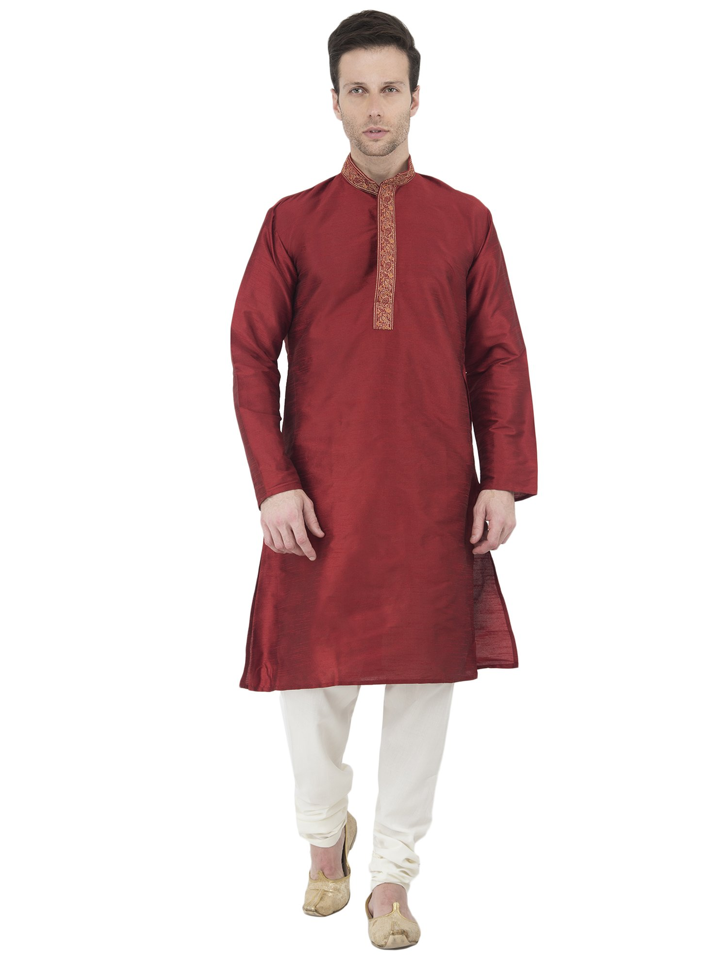 Long Sleeve Button Down Shirt Embroidered Mens Kurta Pajama Set Red India Yoga Summer Dress -L