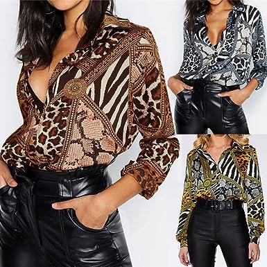 Camisa de Manga Larga de Botón de Mujer, Verano Leopardo Imprimir Tallas Grandes Camisetas Mujer Camisas Mujer Verano Elegantes Estampado de Moda Casual para Mujer Fiesta en la Playa: Amazon.es: Ropa y