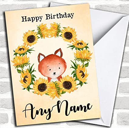 Sunflower Fox - Tarjeta de felicitación de cumpleaños ...