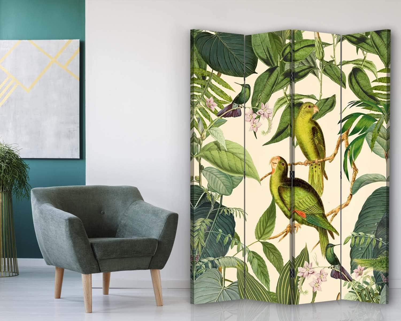 carowall CAROWALL.COM Paravento Uccelli 3 Parti 360 Gradi Giungla Arancione 110x175 cm
