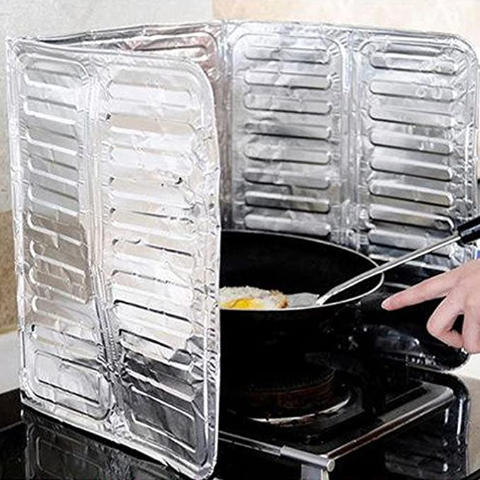 Amazon.com: Oil Splash Guard Aluminum Foil Gas Stove Shield Oil Splatter Screen Kitchen Tool Aluminum Foil Oil Block Oil Barrier Stove Cooking Heat ...