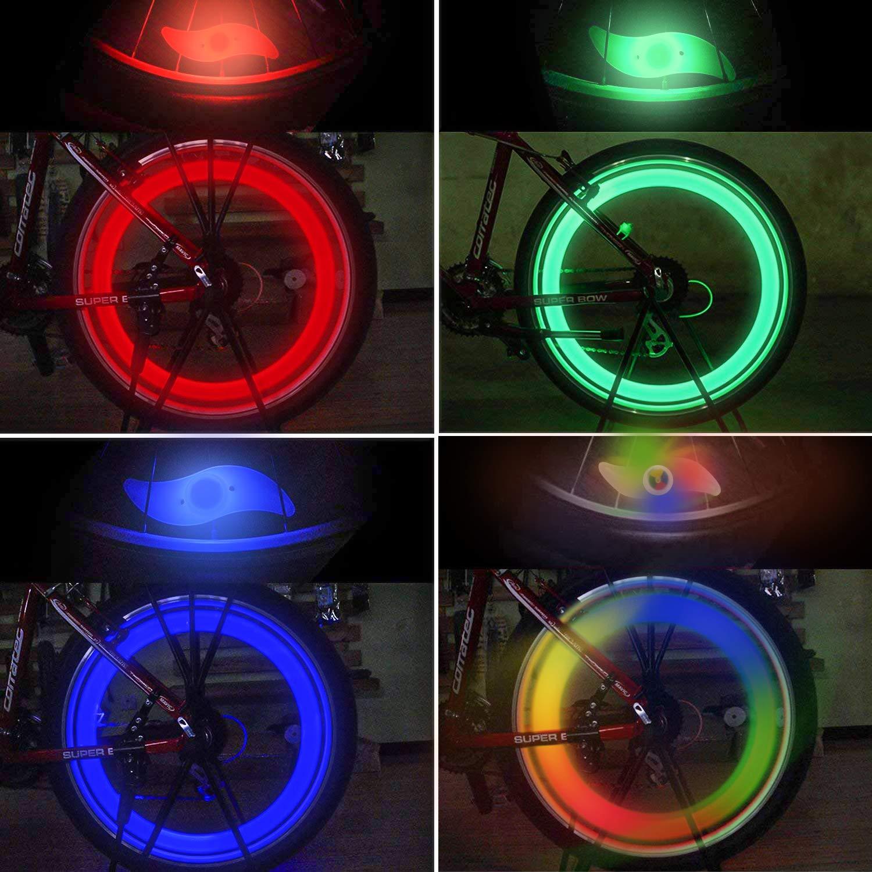 ni/ños bicicleta TAGVO 4pcs luz de radios de bicicleta f/ácil instalaci/ón luces de radios de rueda para adultos l/ámpara de flash de ne/ón de LED de ne/ón resistente al agua con 3 modelos intermitentes