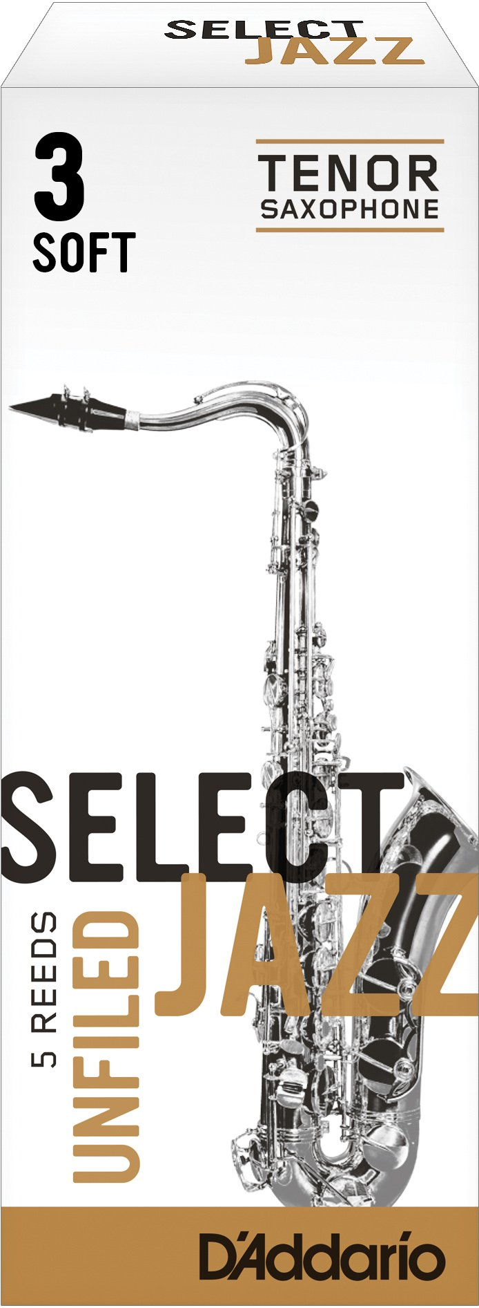 Rico Select Jazz Tenor Sax Reeds, Unfiled, Strength 3 Strength Soft, 5-pack