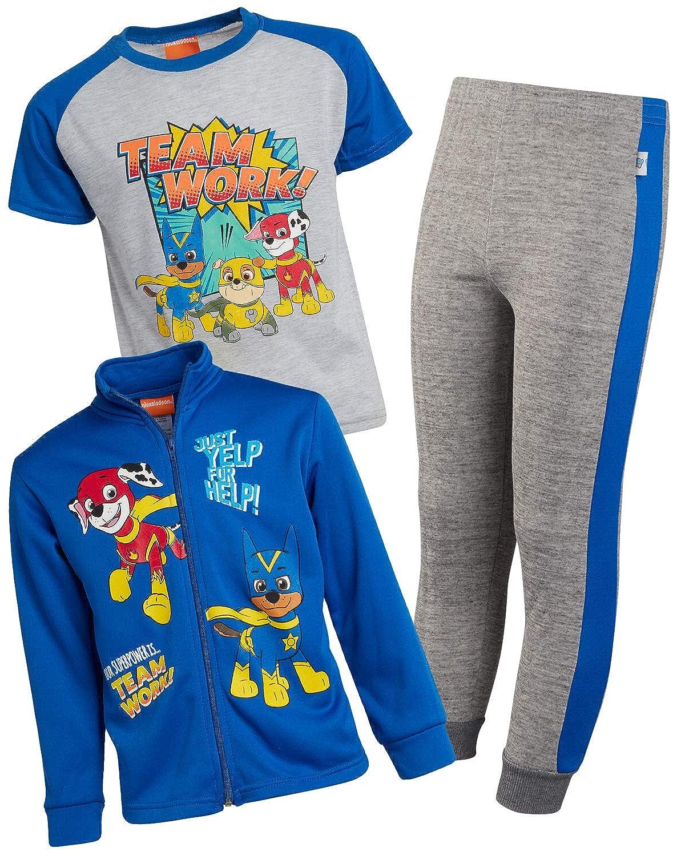 Fleece Zip Jacket Jogger and T-Shirt Nickelodeon Boys Paw Patrol 3-Piece Jogger Set