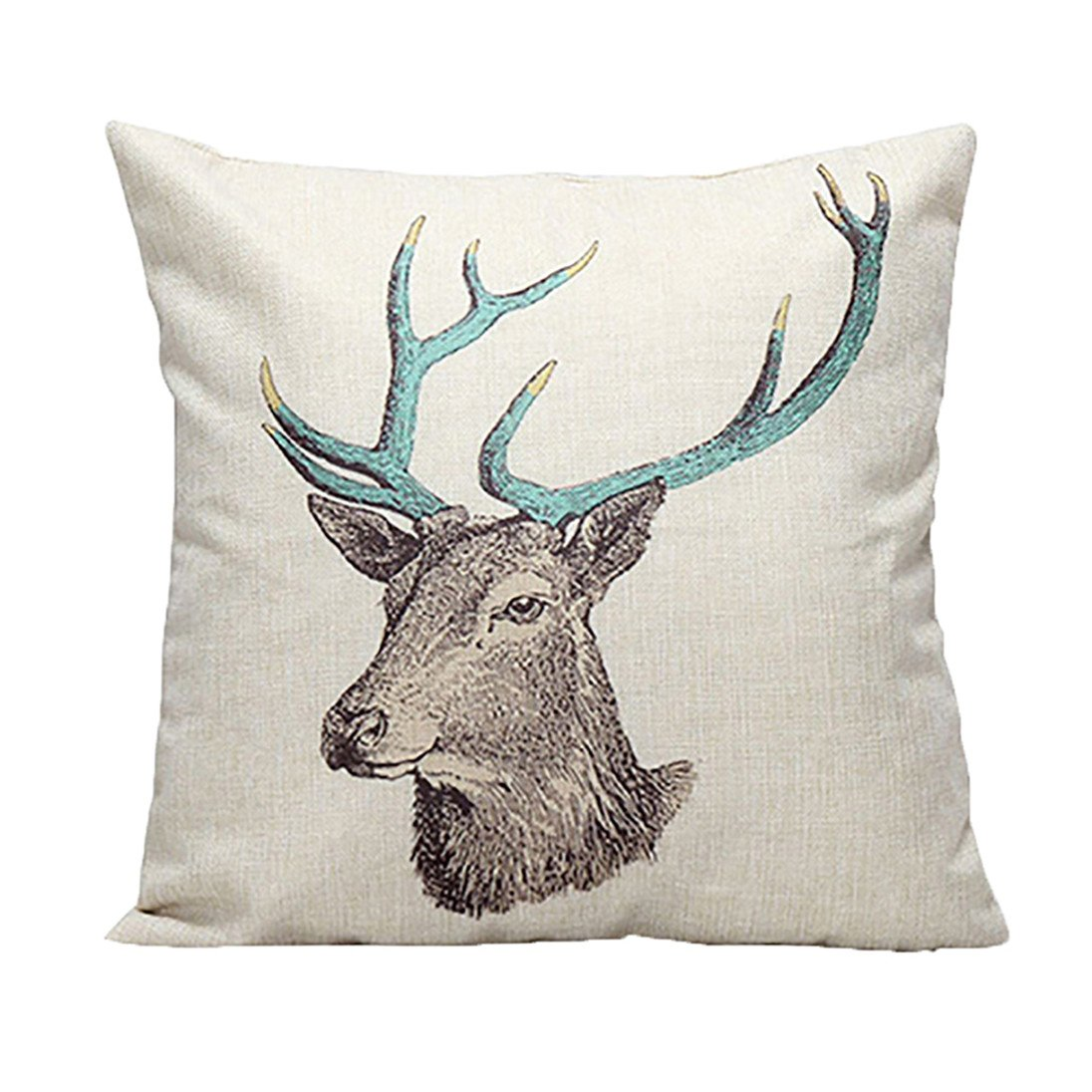 good01 Vintage Stag Tree Deer Print Linen Throw Pillow Case Cushion Cover Decor