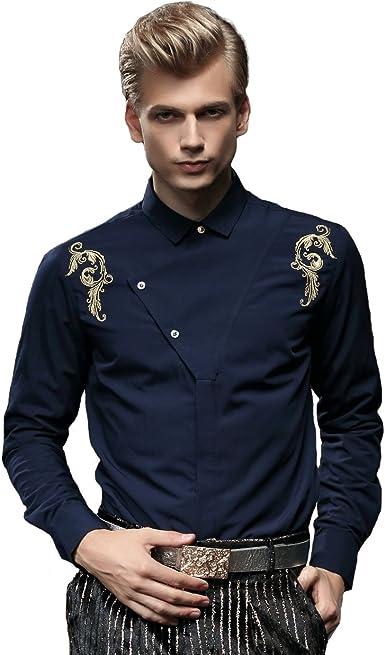 FANZHUAN Camisa Azul Traje Camisa Hombre Flores Camisas Hombre Fashion Camisas Hombre No Plancha: Amazon.es: Ropa y accesorios