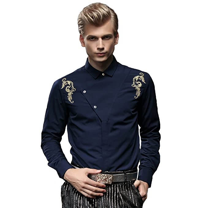 FANZHUAN Trendy Flannel Thick Shirt Winter Shirt Embroidery Deep Blue Slim Fit at Amazon Mens Clothing store: