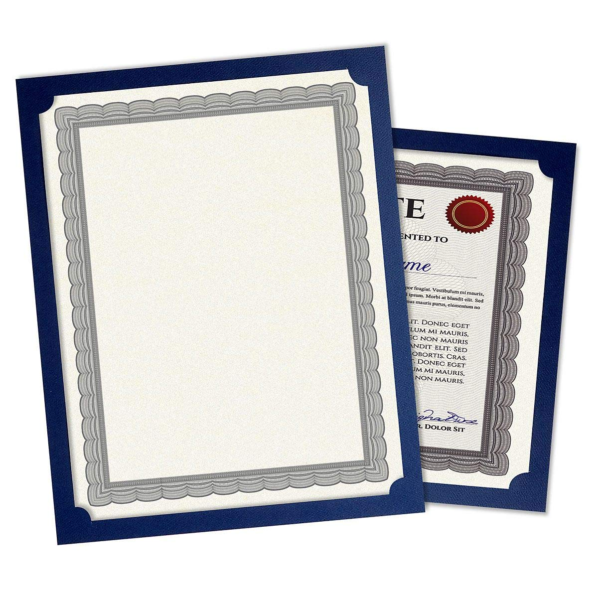Plain Blue Certificate Holder - Set of 25, 9-1/2'' x 12'' Folded with Diecut Corners on 80 lb. Linen Cover Stock, Single Sided Holder, Diploma Holder, Letter Sized Awards by Fine Stationery