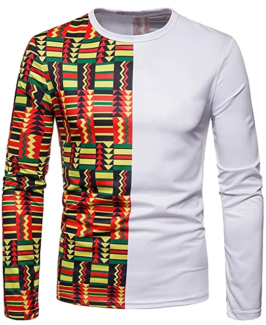 fa54242eb0f Jotebriyo Men s Plus Size Round Neck Floral Printed Long Sleeve Color Block  Casual Top T-