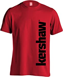 Kershaw Logo Extra Large Short Sleeve Tee Shirt; Basic Red Crew Neck T-Shirt Made with 100% Cotton; Black Kershaw Logo Vertical on Side; Tag-Free Neck Label; Pre-Shrunk; Unisex; Multi-Sized