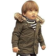 Baby Boy Hooded Winter Warm Parka Jacket Kids Outerwear Coat (6-12Months, Army Green)