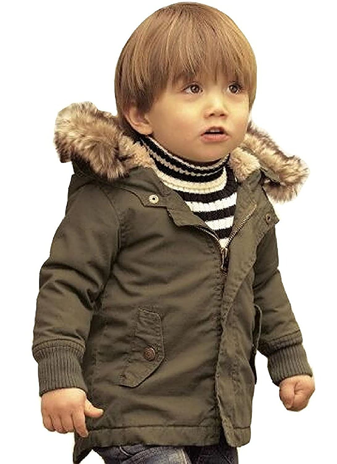 cd9184796cee1 Amazon.com  Baby Boy Hooded Winter Warm Parka Jacket Kids Outerwear Coat   Clothing