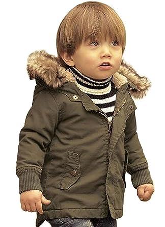 9f4abf244c12 Amazon.com  Baby Boy Hooded Winter Warm Parka Jacket Kids Outerwear ...