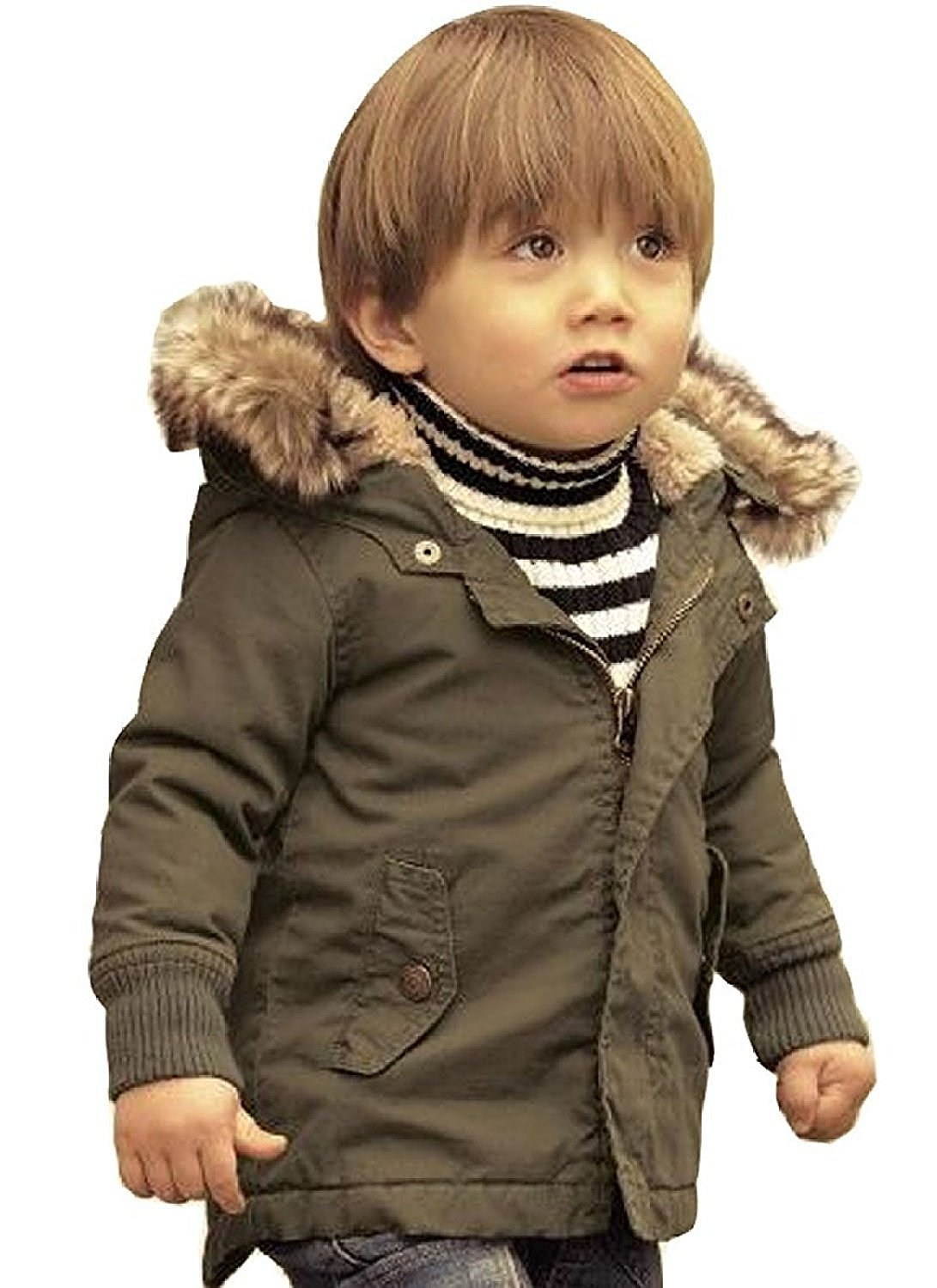 Baby Boy Hooded Winter Warm Parka Jacket Kids Outerwear Coat (18-24Months, Army Green)
