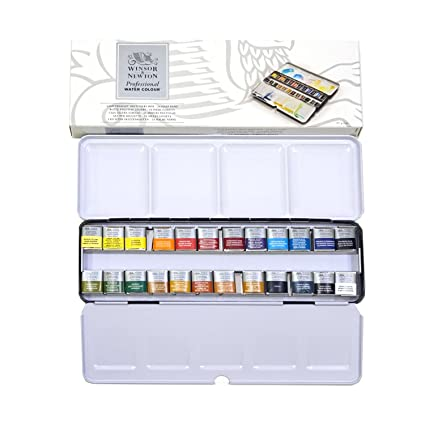 Winsor Newton Water Color Half Pan 24 Metal Box Set