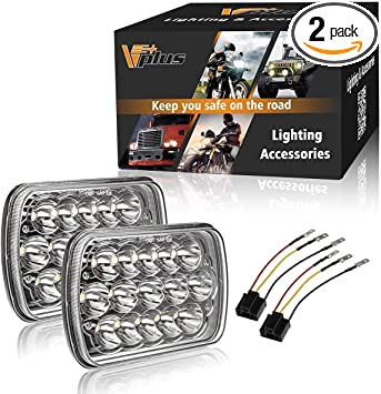 Partsam H6054 7x6 5x7 LED Headlights Sealed Beam Hi/Low w/ H4 Wiring on jeep wk wiring harness, jeep compass wiring harness, jeep yj dash wiring, volkswagen westfalia wiring harness, jeep cj5 wiring-diagram, jeep cj7 wiring harness, jeep 4.0 wiring harness, jeep yj wiring connectors, jeep grand wagoneer wiring harness, jeep xj wiring harness, jeep yj radio wiring diagram, jeep commander wiring harness, jeep cherokee wiring harness, dodge wiring harness, silverado wiring harness, 1974 jeep cj5 wiring harness, jeep jk wiring harness, jeep wrangler wiring, jeep liberty wiring harness, pontiac grand am wiring harness,