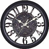 掛け時計 連続秒針 おしゃれな 古典的な アンティーク調 北欧風 インテリア 静音 レトロ 壁掛け時計 ウォールクロック ブラック
