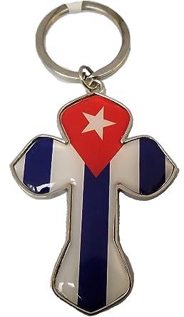 Amazon.com: Llavero de la bandera de Cuba de metal, con cruz ...