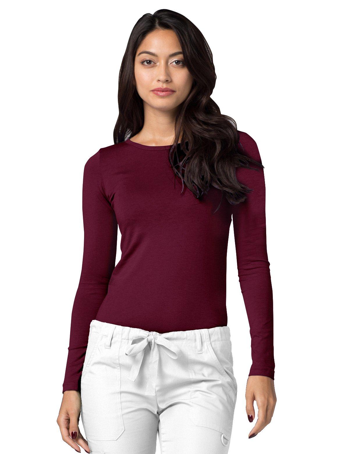ADAR UNIFORMS Adar Womens Comfort Long Sleeve T-Shirt Underscrub Tee - 2900 - Burgundy - M by ADAR UNIFORMS (Image #4)