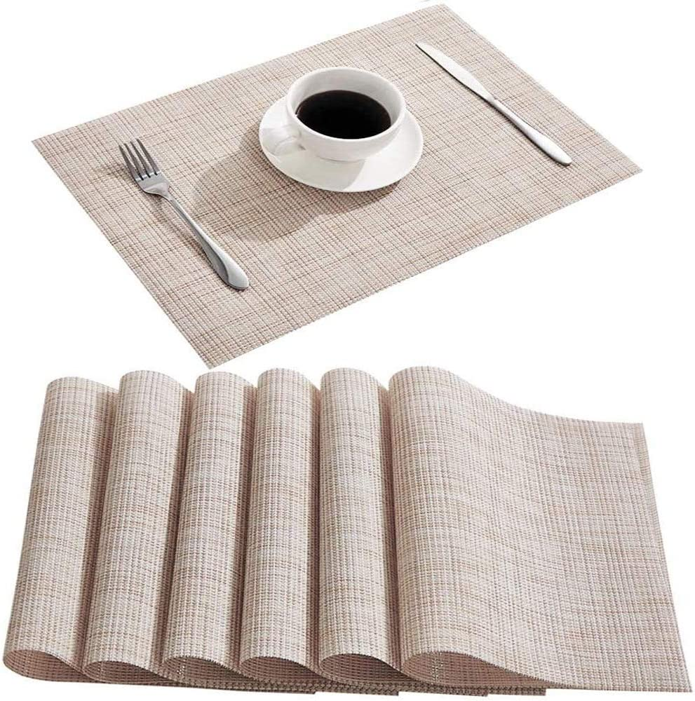 DOLOPL Placemats Placemat Dinner Mats Set of 6 Beige Table Mats 100%Waterproof Easy to Clean Wipeable Washable Modern Outdoor Placemats for Dining Kitchen Table Halloween Thanksgiving Christmas Decor