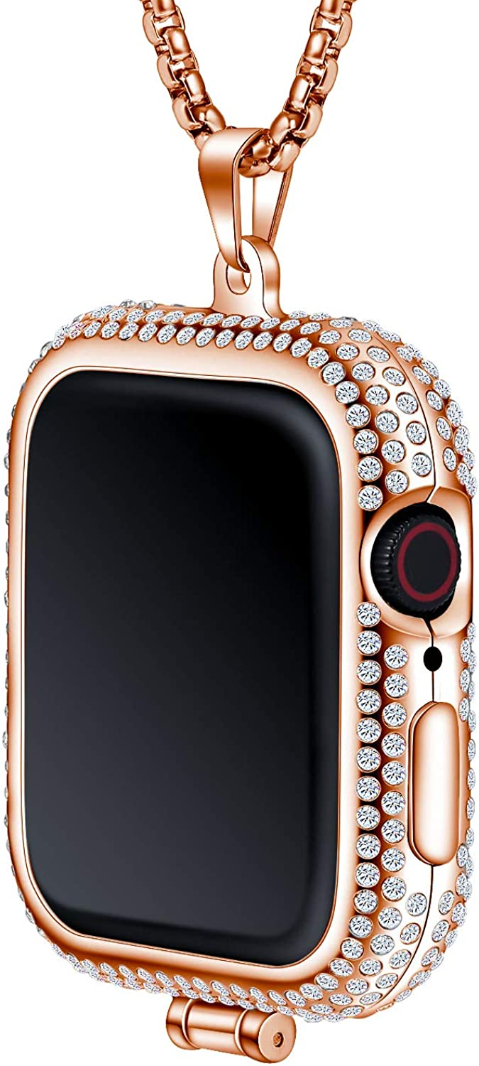 Callancity Metal Rhinestone Face Cover Plated Luxury Color Compatible For Apple Watch Pocket Watch Series 5/4