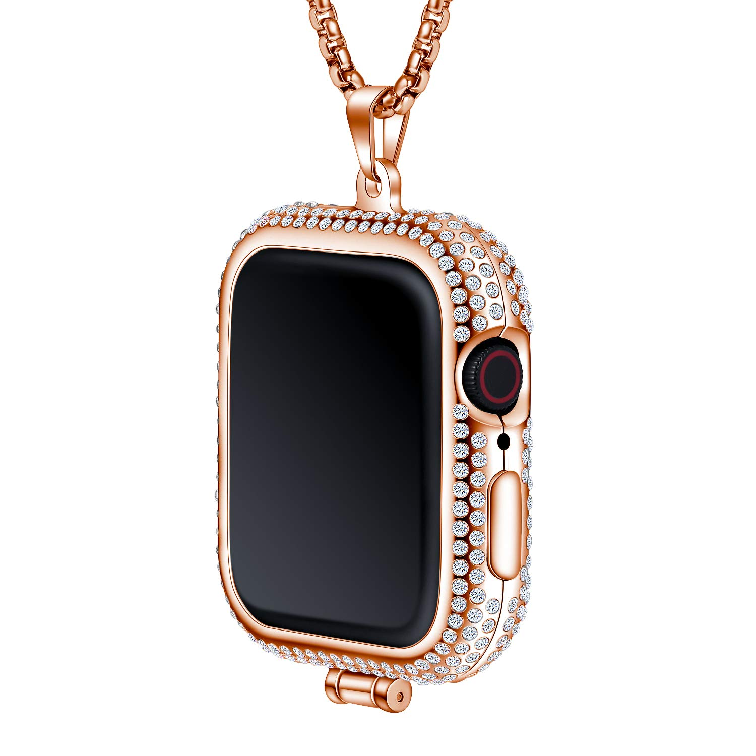 Callancity Metal Rhinestone Face Cover Plated Luxury Color Compatible for Apple Watch Pocket Watch Series 4 (Rose Gold, 44mm) by Callancity