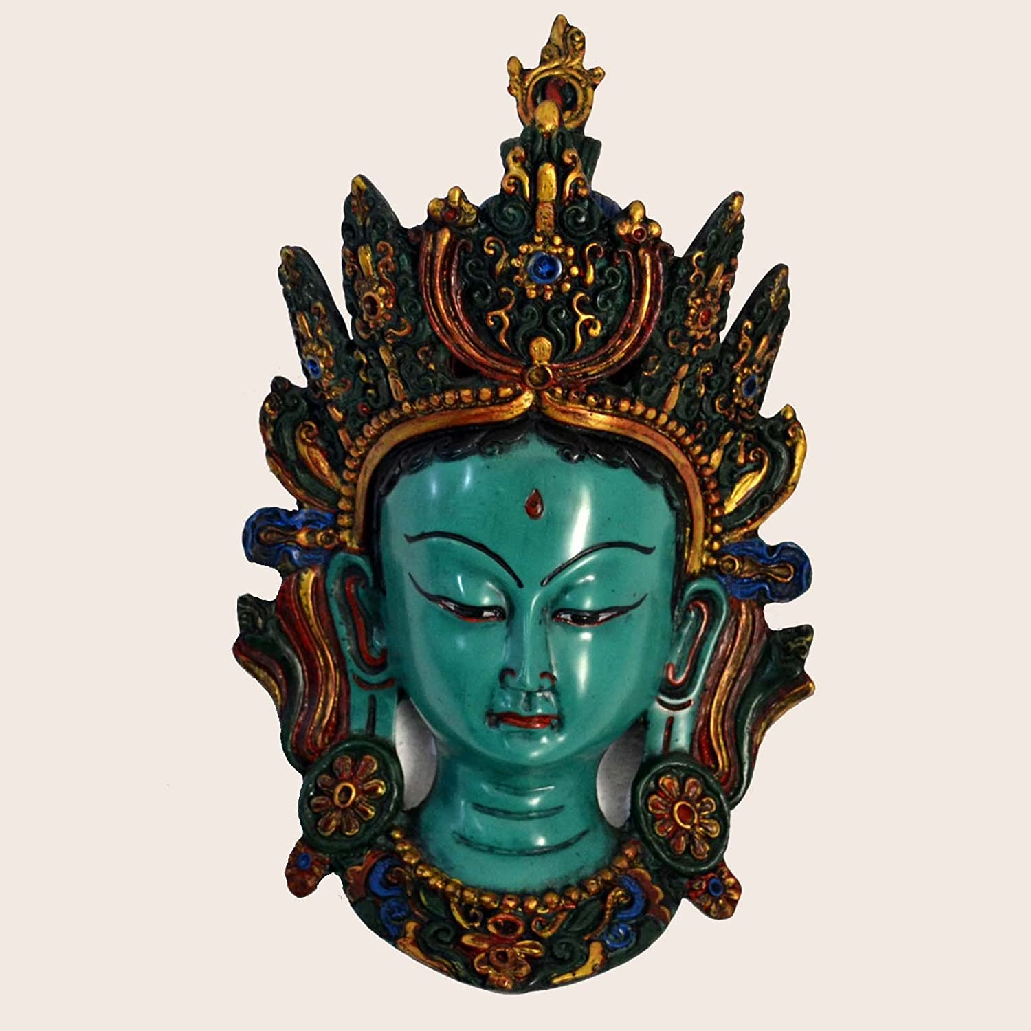 Gallery of Himalayan Art HD12 Tibetan Nepalese Handmade Resin Statue Mask Green Tara Buddha Home Decor Wall Hanging Mask Nepal