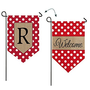 Evergreen Polka Dot Welcome Monogram  R  Double-Sided Burlap Garden Flag- 12.5 W x 18 H