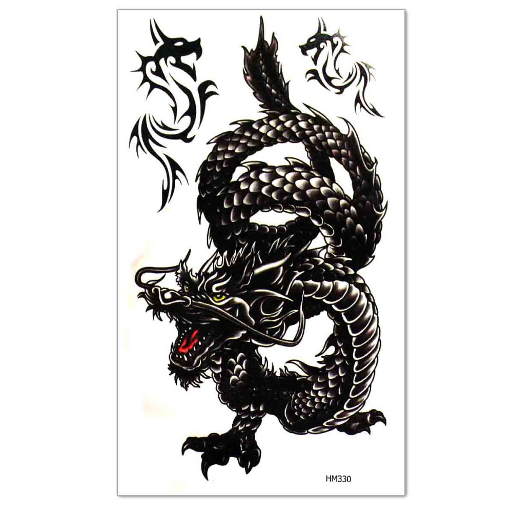 Men's Temporary Tattoo Dragon Pattern Fake Tatoo Sticker Body Art Waterproof