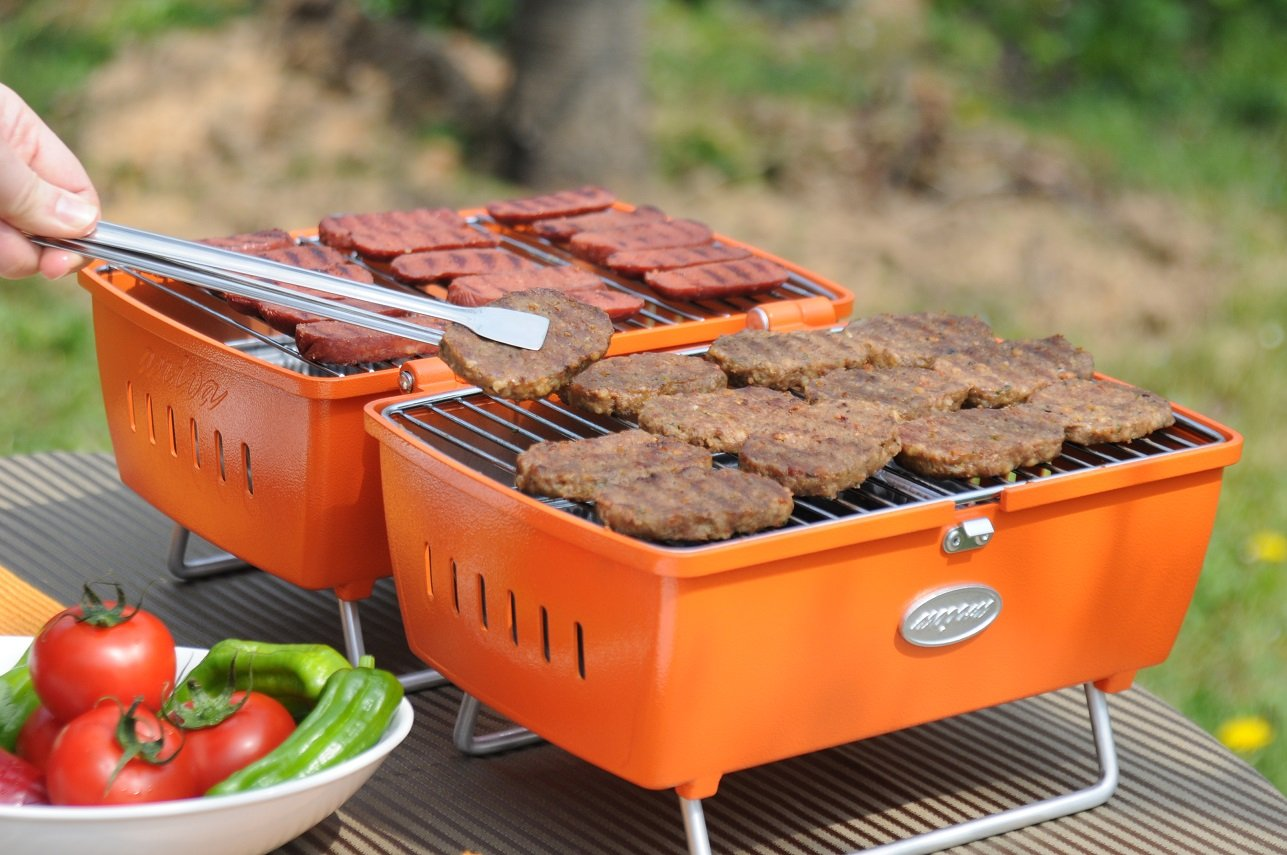 Aniva prtk 02 portátil barbacoa de carbón, color naranja: Amazon.es: Jardín