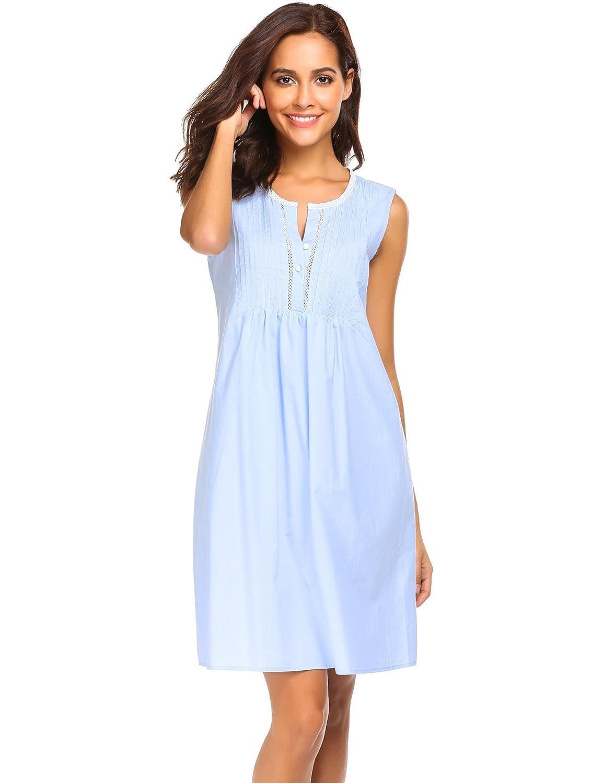 Ekouaer Womens Cotton Nightgown Sleeveless Victorian Chemise Sleepwear EKK009216