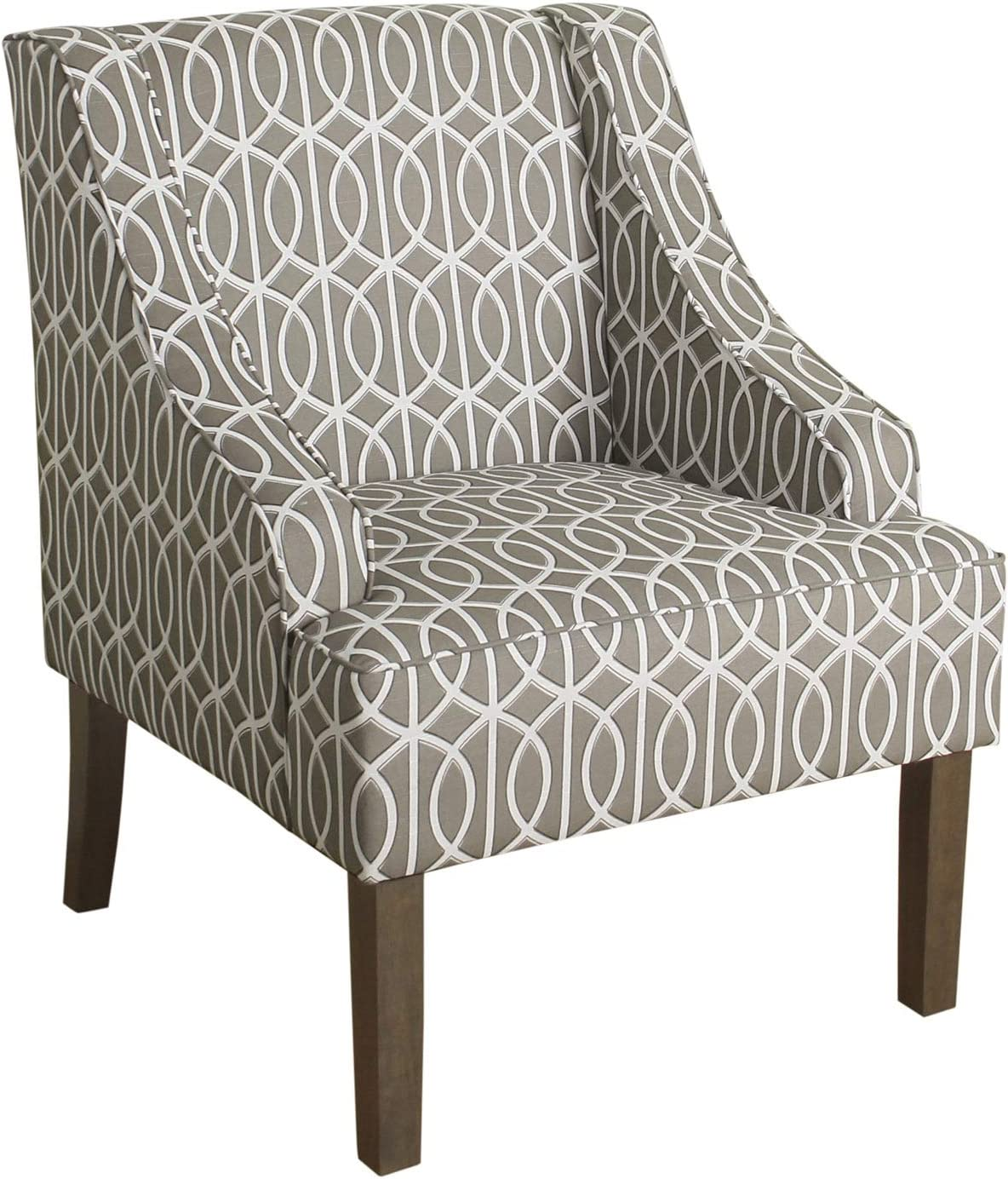 Benjara Wooden Accent Chair with Trellis Pattern Design, Gray and Cream