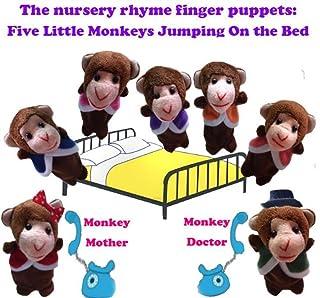 YOIL Burattini da dito per bambini 7 Pcs Finger Puppets Story Raccontare cinque piccole scimmie saltando sul letto Perfetto regalo per bambini