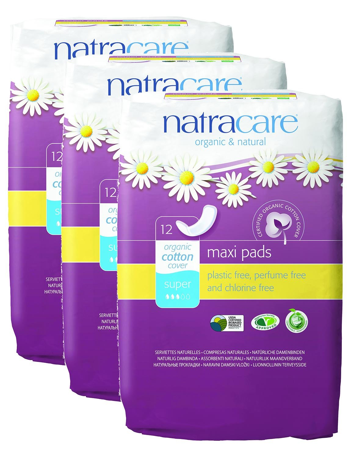 PACK OF 3 Natracare Maxi Pads Super