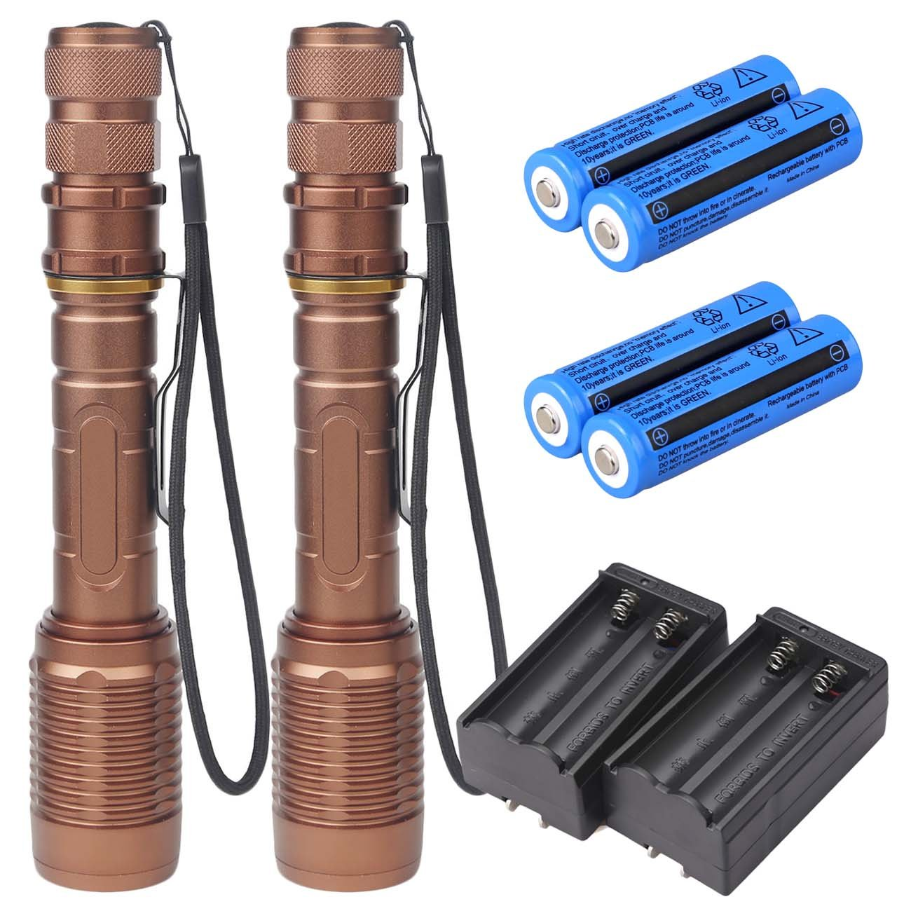 ShineTool 2 Pack LED Flashlight set High Bright Zoomable Flashlights, 5 Modes Adjustable Focus Outdoor Handheld Torch Light by Shinetool