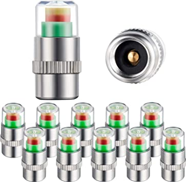 12 Pieces Tire Pressure Monitor Valve Stem Caps Tire Pressure Gauge Warning Cap Pressure Monitor Sensor Indicator 3 Colors Red Yellow Green