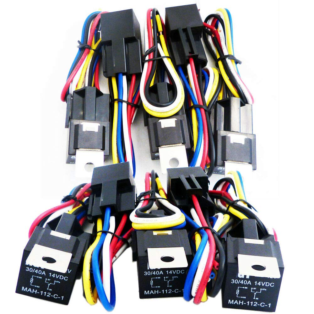 10x 12V 30//40 Amp SPDT Auto Car Relay with Wires /& Harness Socket Wire Plug Set
