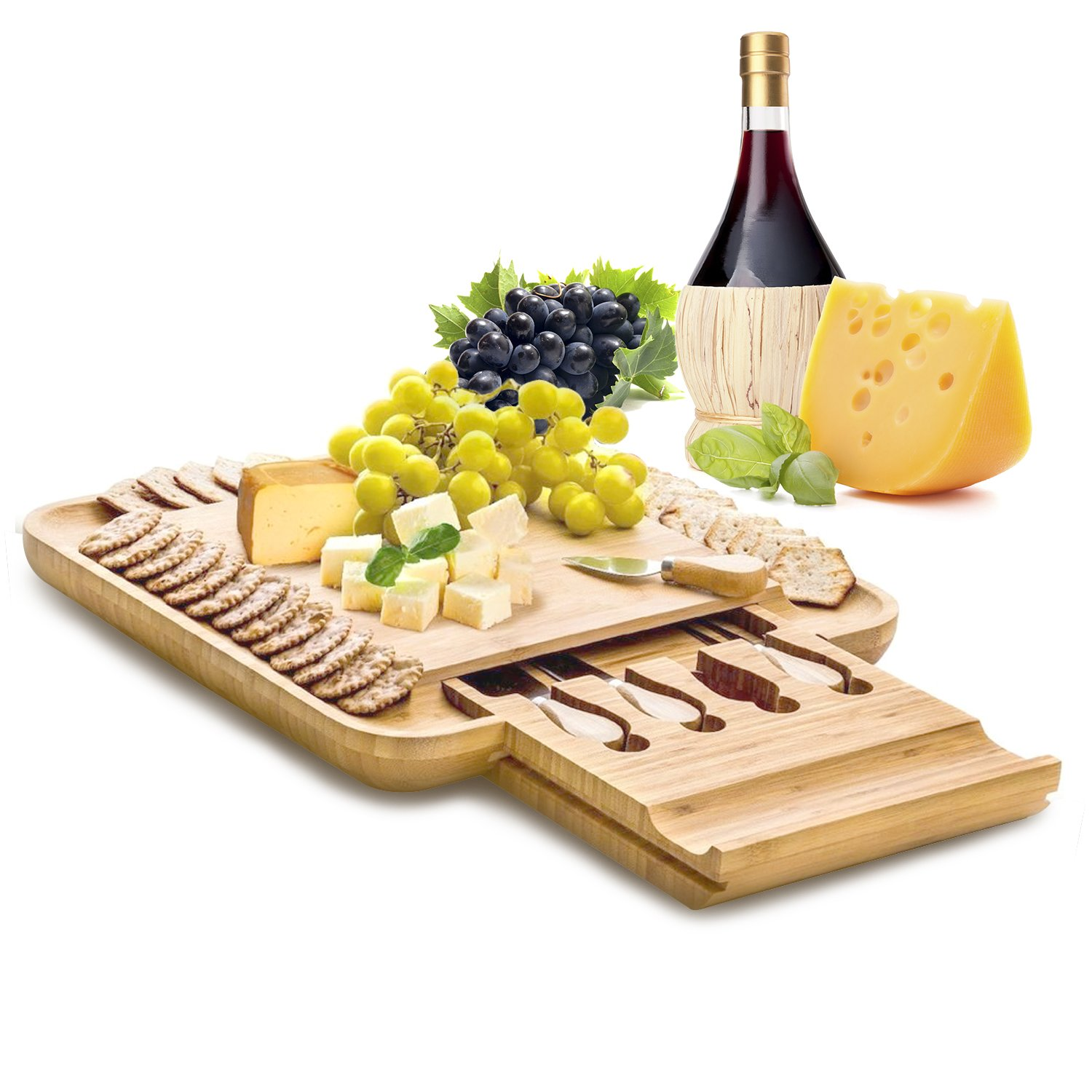 """Natural Bamboo Cheese Board Set with Stainless Steel Cutlery Set, Hidden Slide Out Drawer with Non-Slip Feet, Great Mother's Day Gift, 13"""" x 13"""" Great Mother's Day Gift 13"""" x 13"""" Zen Kitchen"""