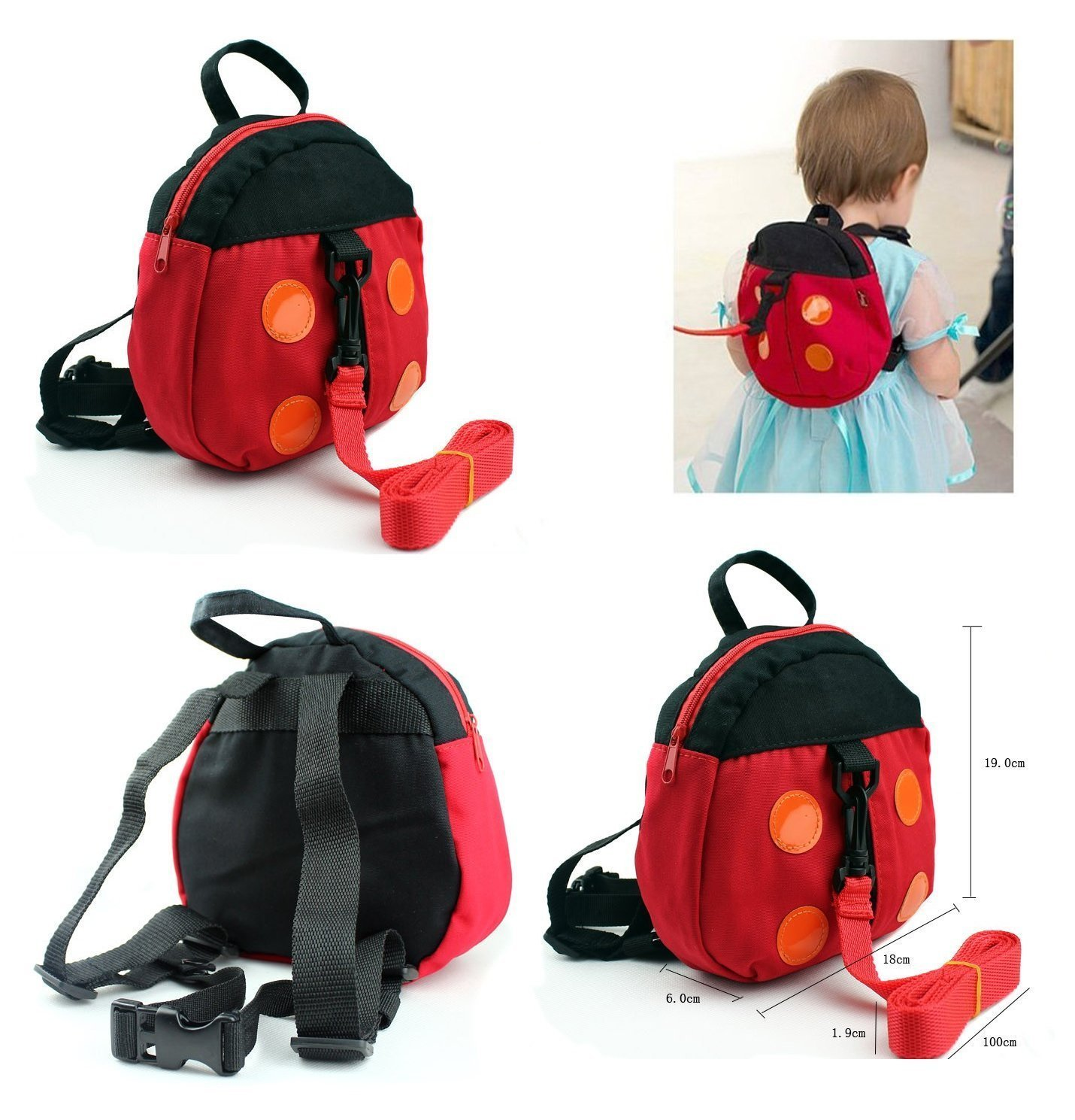 Safety Backpack Harness infant anti-lost band baby toddler belt—Ladybug AAA+A
