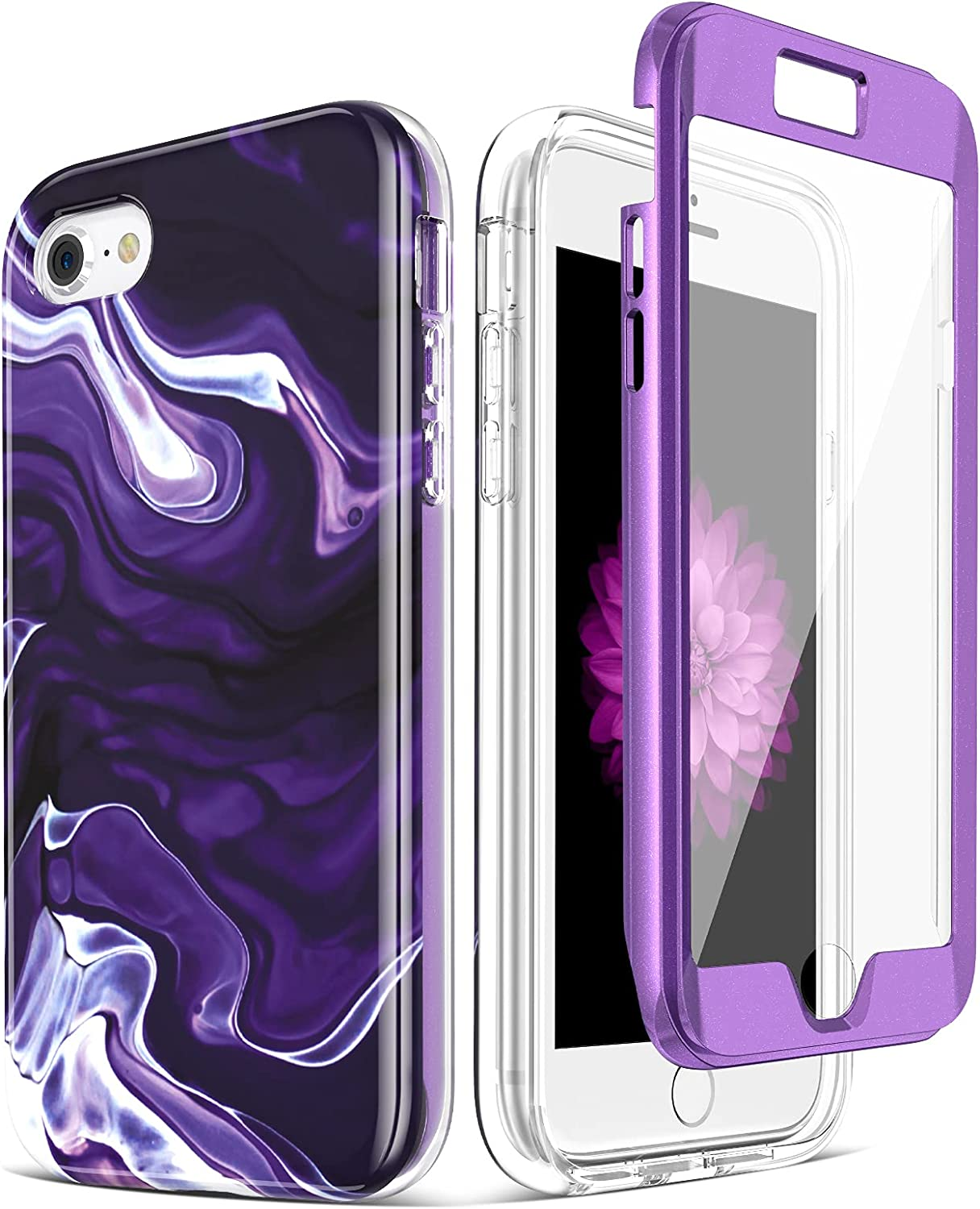 Caka iPhone 7 Case, iPhone 7 8 SE 2020 Marble Case with Built-in Screen Protector Protective Shockproof for Girls Women Anti Scratch Case for iPhone 7 8 SE 2020 (4.7 inches) (White Purple)