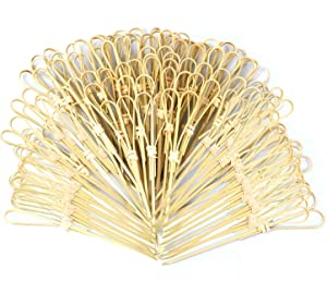 AUEAR, Bamboo Picks Skewers Toothpicks Sticks Decorative Appetizers Snack Sandwich Finger Food Tapas Fruit Kabob BBQ Cocktail Sticks Bar Party Supplies (Heart Shaped, 100 Pcs)