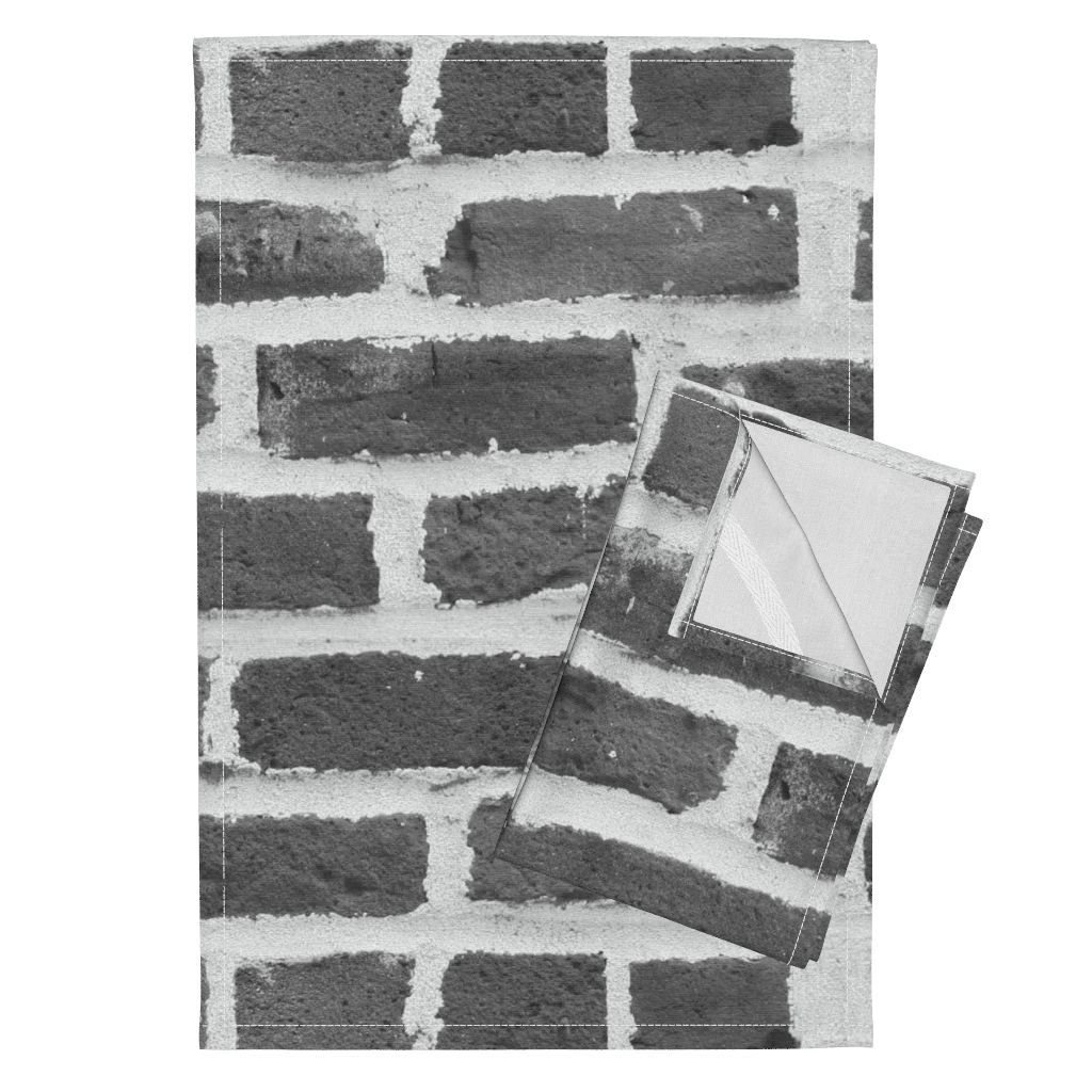 Roostery Brick Wall Stone Grey Gray Photographic Black and White Tea Towels Hit A Brick Wall ~ Grey by Peacoquettedesigns Set of 2 Linen Cotton Tea Towels